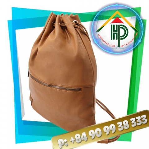 Image of Drawstring Backpack Leather