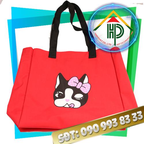 Túi Xách Thời Trang Canvas Đỏ Mặt Mèo
