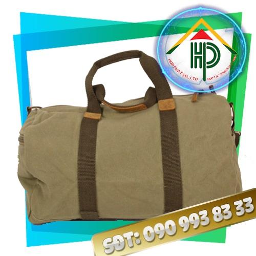 Túi xách du lịch vải bố màu xám tro mặt sau