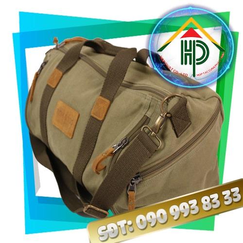 Túi xách du lịch vải bố màu xám tro mặt hong