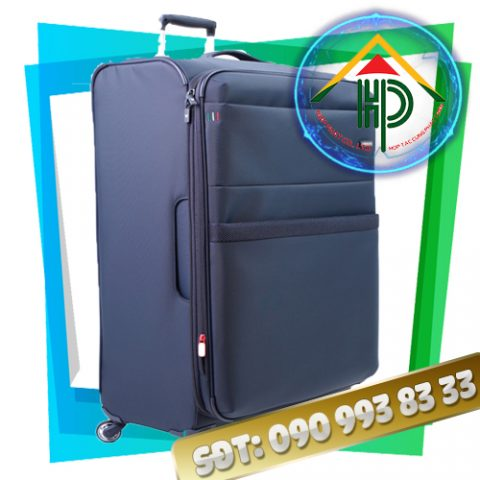 may vali kéo màu xanh
