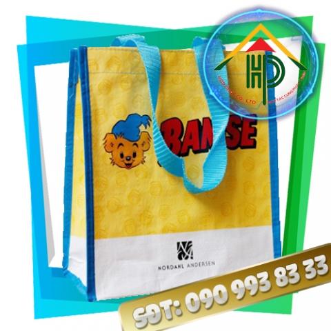 Túi vải PP dệt màu vàng