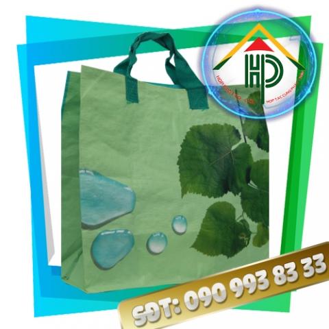 Túi vải PP dệt màu xanh lá cây