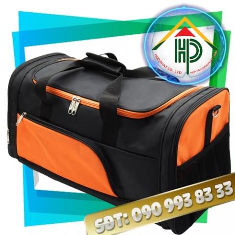 Túi xách du lịch màu cam phói đen