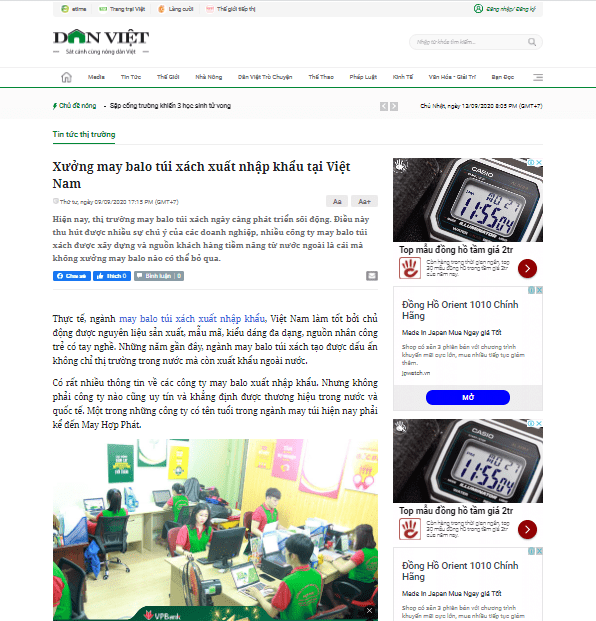 May Hợp Phát khẳng định thương hiệu số 1 về balo xuất khẩu trên báo Dân Việt