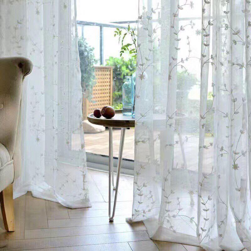 Vải voan hoa may rèm cửa rất đẹp