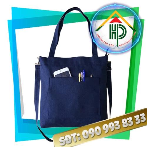 Túi vải canvas màu xanh dương