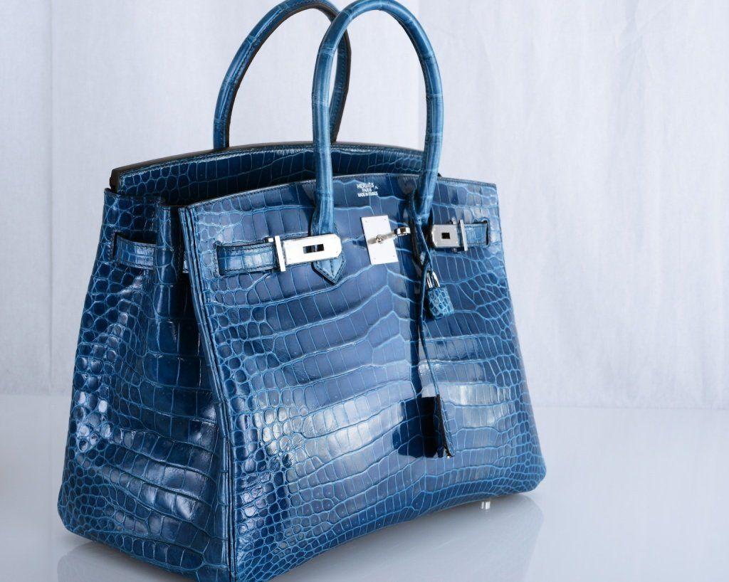 Hình ảnh túi xách Blue Crocodile Hermes Birkin Handbag
