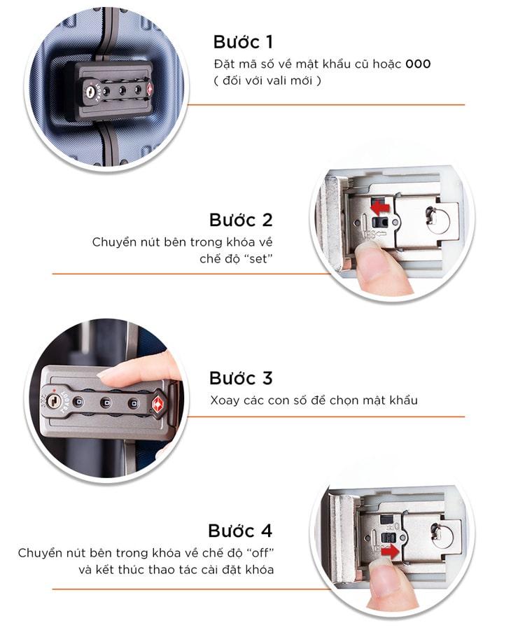 Cách thay mật khẩu khóa vali TSA dạng khóa sập hợp kim