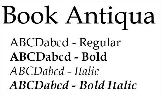 Phông chữ Book Antiqua