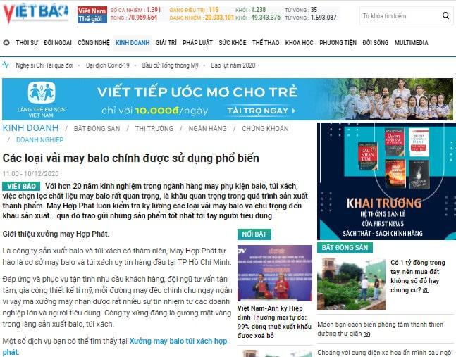 Vietbao.vn đưa tin về Hợp phát