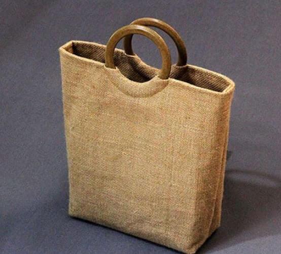 Túi xách quai gỗ vải bố nâu