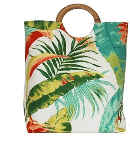 Túi xách quai gỗ lá Tropical