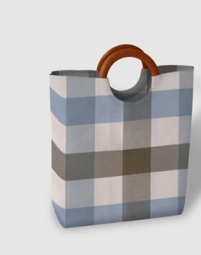 Túi xách quai gỗ sọc caro nhiều màu