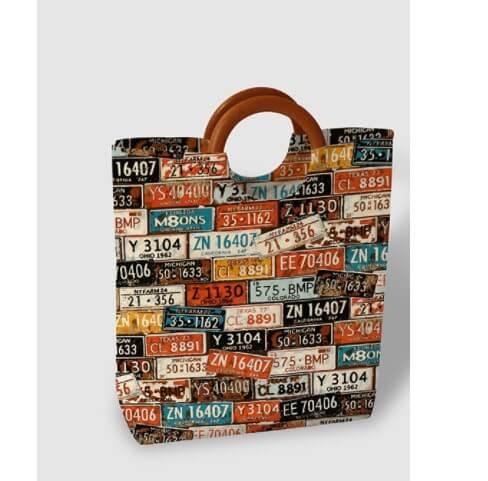Túi xách quai gỗ biển số xe
