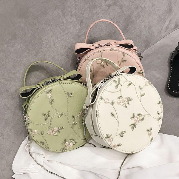 Túi xách nữ thời trang dạng tròn đeo chéo thêu hoa