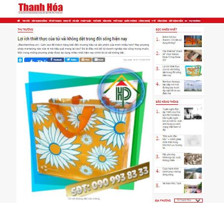 Báo Thanh Hóa công nhận Hợp Phát là công ty may túi vải không dệt chất lượng cao