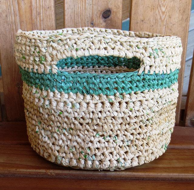 làm giỏ đan bằng túi nylon