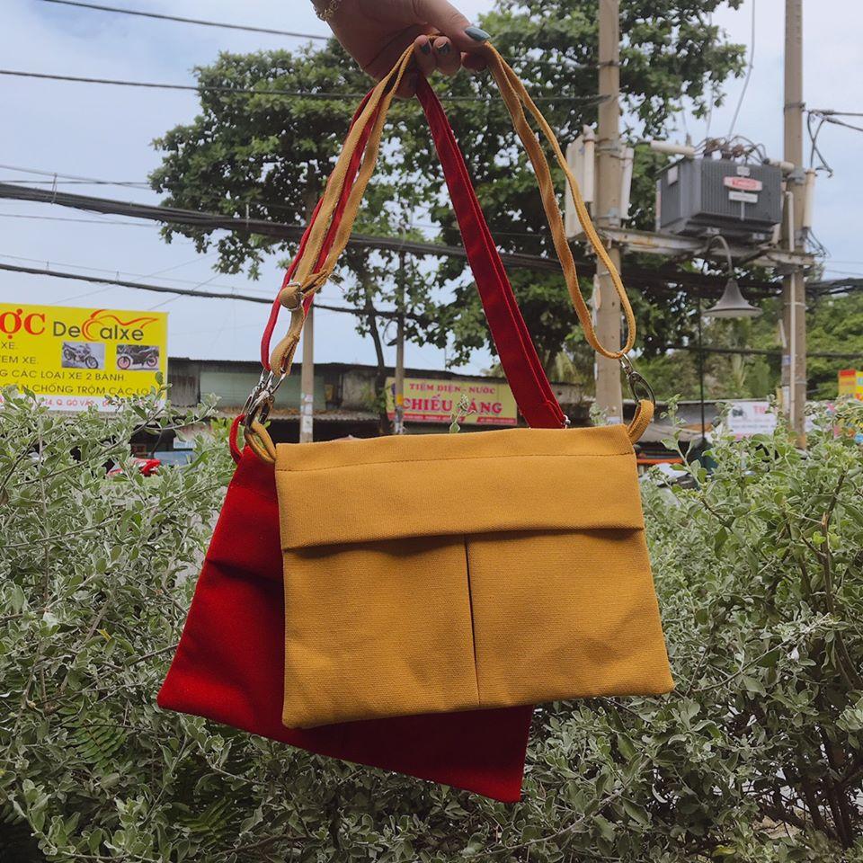 Túi đeo chéo vải bố gấp hình chữ V - Thời trang dành cho cô nàng năng động