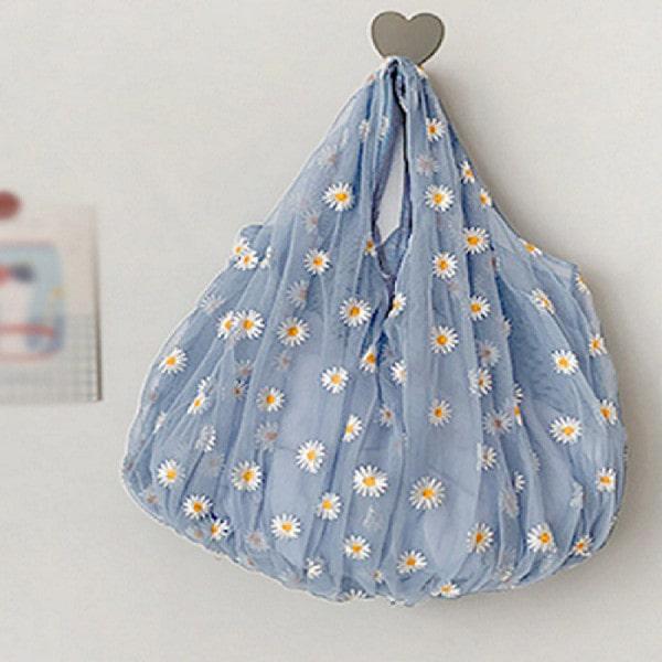 Túi xách vải nữ thêu hoa cúc thời trang Hàn Quốc