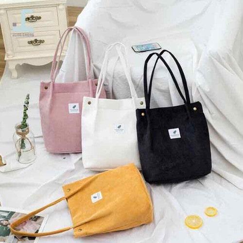 Túi xách vải nhung phong cách Hàn Quốc