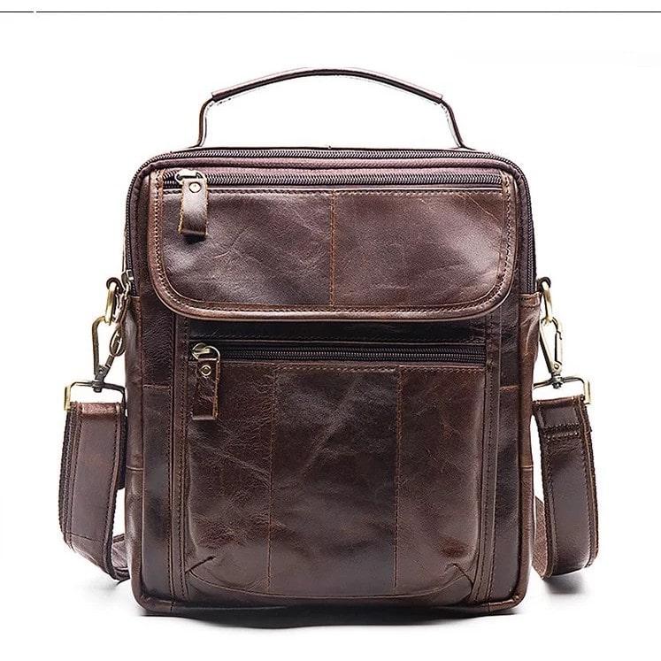 Túi đeo chéo đựng Ipad nhiều ngăn da bò thật 100%