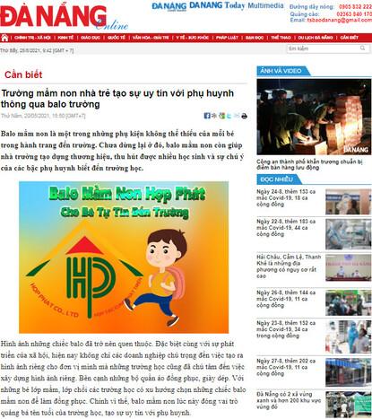 Hợp Phát dẫn đầu ngành sản xuất balo mầm non trên báo Đà Nẵng